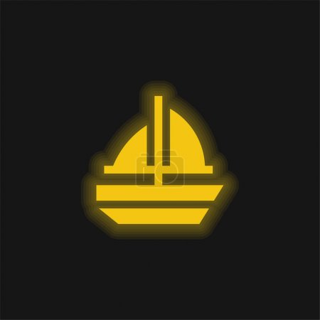 Boat yellow glowing neon icon