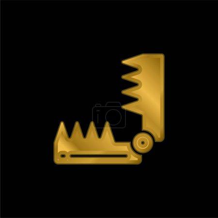 Illustration pour Piège à ours icône métallique plaqué or ou logo vecteur - image libre de droit