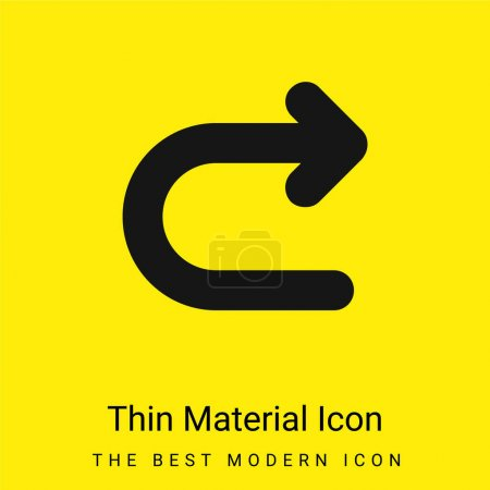 Illustration for Arrow Turning To Right minimal bright yellow material icon - Royalty Free Image