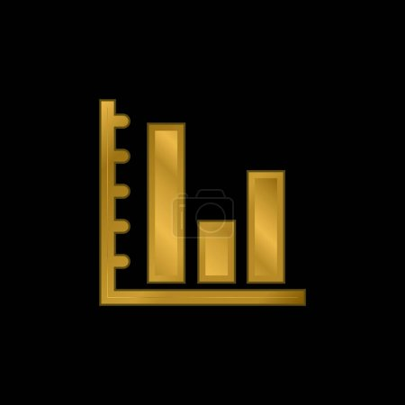 Illustration for Bars Graphic Of Business Stats gold plated metalic icon or logo vector - Royalty Free Image