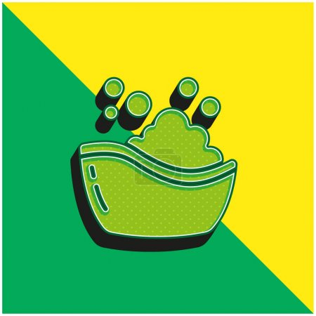 Baby Bath Tub Green and yellow modern 3d vector icon logo