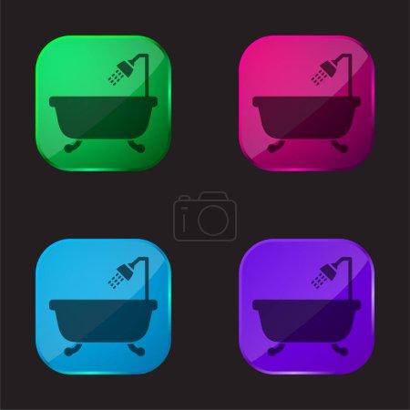 Wanna z otwartym prysznicem cztery kolory szklany przycisk ikona