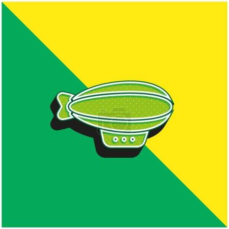 Illustration pour Ballon pneumatique Logo vectoriel 3D moderne vert et jaune - image libre de droit