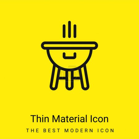 Illustration for Bbq minimal bright yellow material icon - Royalty Free Image