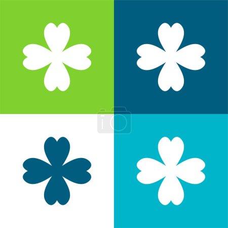 Illustration pour Ensemble d'icônes minimum 4 feuilles Trèfle plat quatre couleurs - image libre de droit