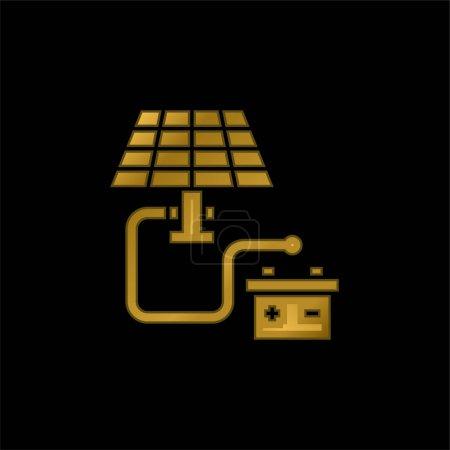 Illustration pour Batterie plaqué or icône métallique ou logo vecteur - image libre de droit