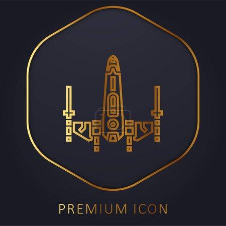 Illustration pour Cuirassé ligne d'or logo premium ou icône - image libre de droit