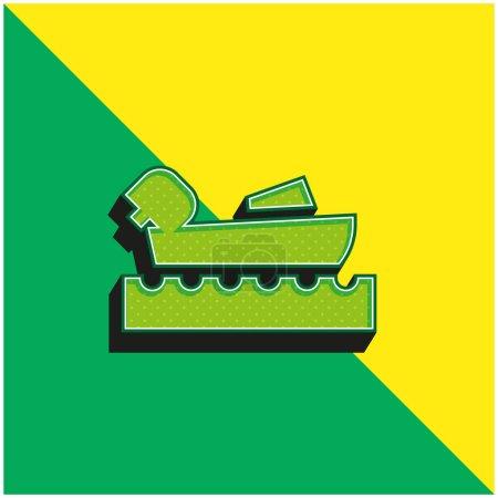 Illustration pour Navigation de plaisance Logo de l'icône vectorielle 3D moderne verte et jaune - image libre de droit