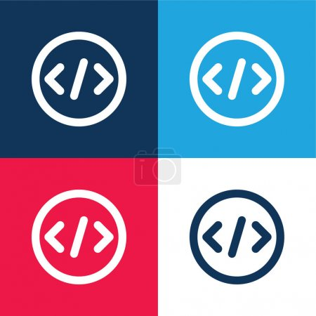 Illustration for Bracket blue and red four color minimal icon set - Royalty Free Image