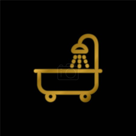 Bathtube With Shower gold plated metalic icon or logo vector