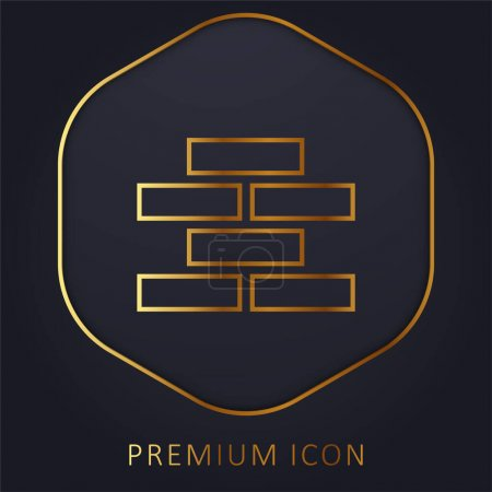 Illustration for Brick Wall golden line premium logo or icon - Royalty Free Image