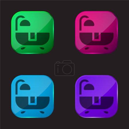 Illustration pour Bain icône de bouton en verre quatre couleurs - image libre de droit