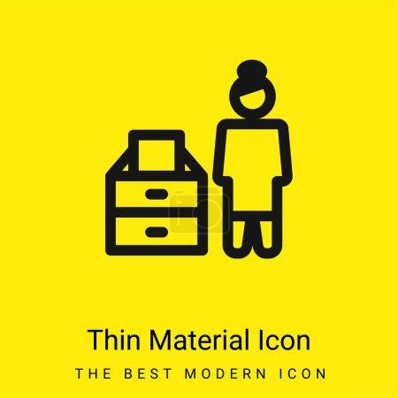 Illustration pour Archive minime icône matérielle jaune vif - image libre de droit