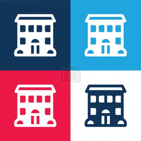 Apartment blue and red four color minimal icon set