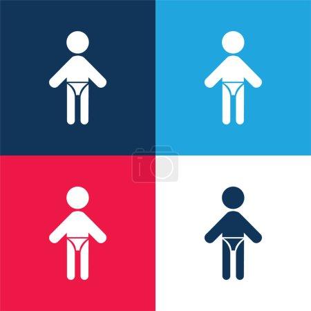 Illustration pour Bébé avec couche bleu et rouge ensemble d'icônes minimales de quatre couleurs - image libre de droit