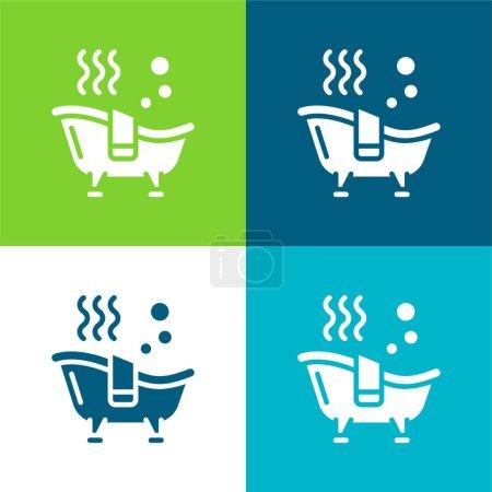 Bath Flat four color minimal icon set