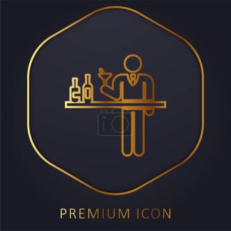 Illustration for Barman golden line premium logo or icon - Royalty Free Image