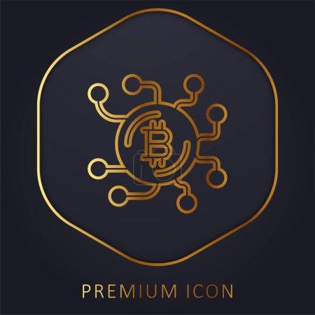 Bitcoin golden line premium logo or icon
