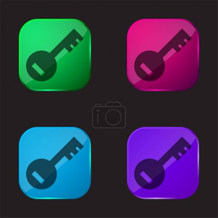 Illustration for Account PassKey four color glass button icon - Royalty Free Image