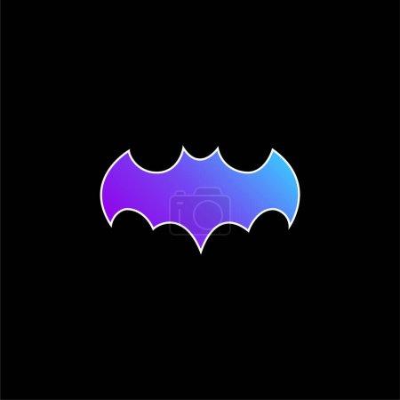 Illustration pour Forme noire chauve-souris avec les ailes ouvertes icône vectorielle dégradé bleu - image libre de droit