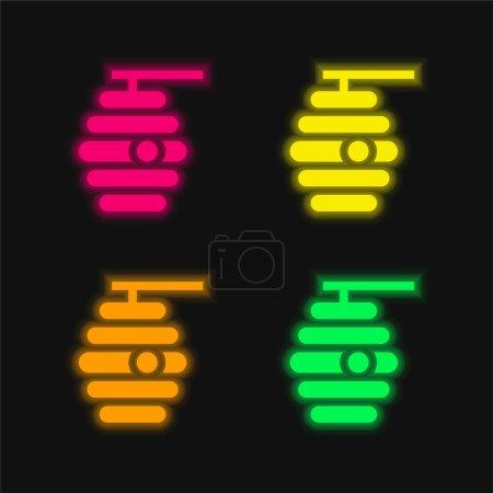 Photo pour Abeille quatre couleur brillant icône vectorielle néon - image libre de droit