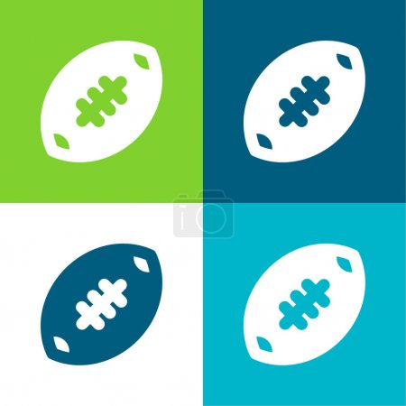 Illustration for American Football Flat four color minimal icon set - Royalty Free Image