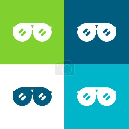 Illustration pour Accessoire Ensemble d'icônes minimal plat quatre couleurs - image libre de droit