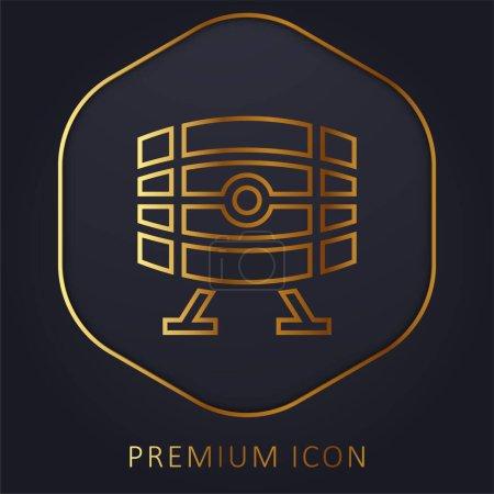 Beer Keg golden line premium logo or icon