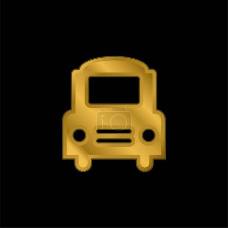 Illustration pour Big Bus Icône métallique plaqué or frontal ou vecteur de logo - image libre de droit