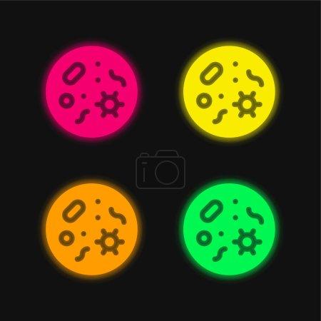Illustration pour Bactéries quatre couleur brillant icône vectorielle néon - image libre de droit