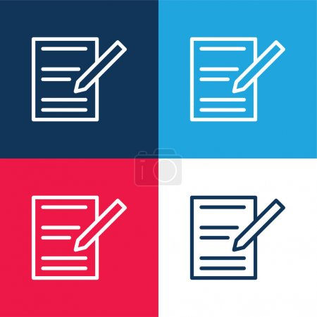 Illustration for Agreement blue and red four color minimal icon set - Royalty Free Image