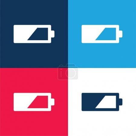 Illustration pour 50 Pour cent Batterie bleu et rouge quatre couleurs minimum jeu d'icônes - image libre de droit