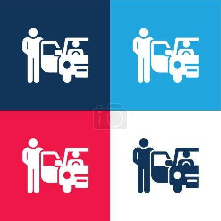 Photo pour Ensemble d'icônes minime Bellboy bleu et rouge quatre couleurs - image libre de droit