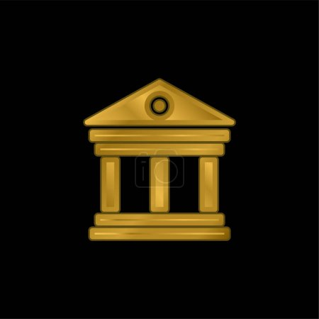 Illustration for Antique Elegant Building With Columns gold plated metalic icon or logo vector - Royalty Free Image