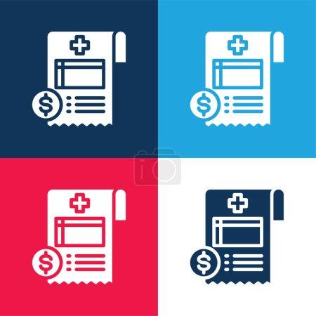 Illustration pour Bill bleu et rouge ensemble d'icônes minimes quatre couleurs - image libre de droit