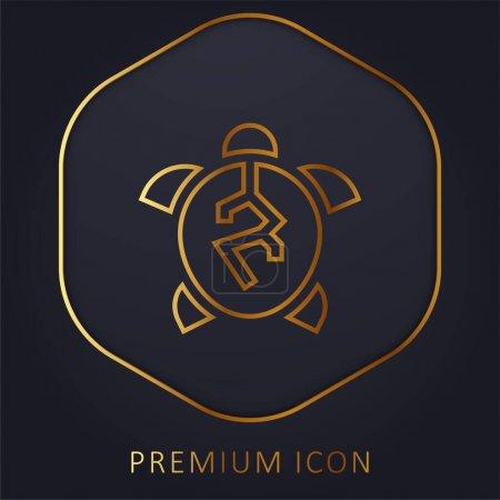 Animal Cruelty golden line premium logo or icon