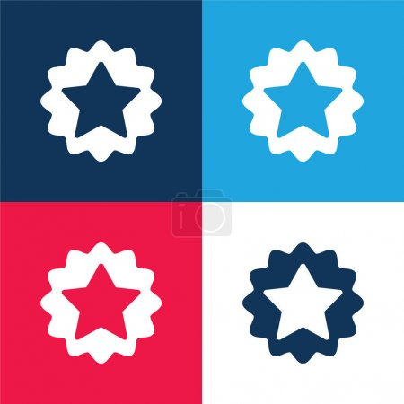 Award blue and red four color minimal icon set