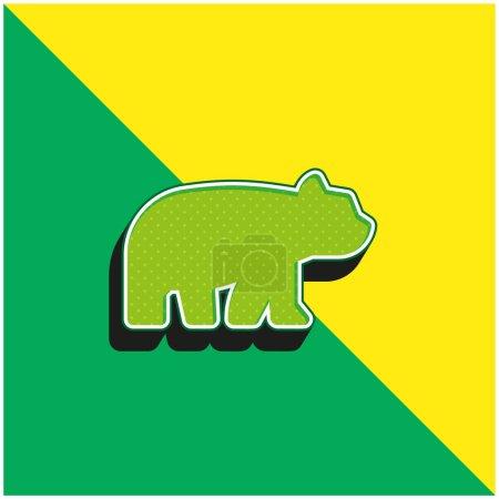 Illustration pour Ours Logo vectoriel 3D moderne vert et jaune - image libre de droit