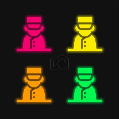 Illustration for Bell Boy four color glowing neon vector icon - Royalty Free Image