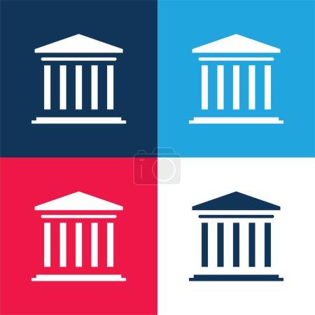 Photo pour Ensemble d'icônes minimum quatre couleurs bleu et rouge Banque - image libre de droit