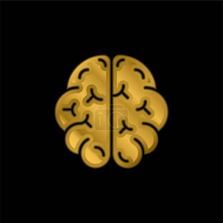 Illustration for Brain gold plated metalic icon or logo vector - Royalty Free Image