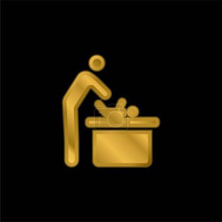 Bébé Changement plaqué or icône métallique ou logo vecteur