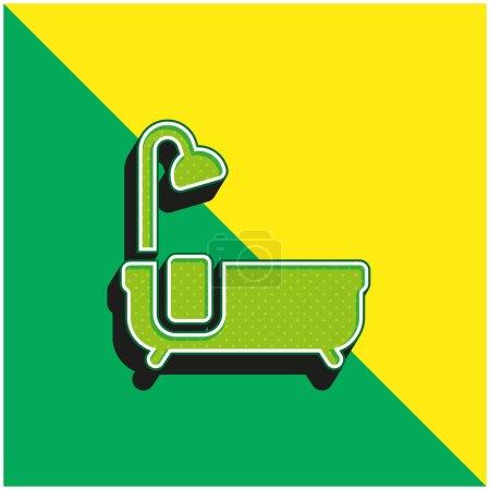 Bañera verde y amarillo moderno vector 3d icono del logotipo