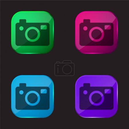 Illustration pour Big Photo Camera icône de bouton en verre quatre couleurs - image libre de droit