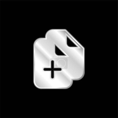 Illustration pour Ajouter des documents icône métallique argentée - image libre de droit