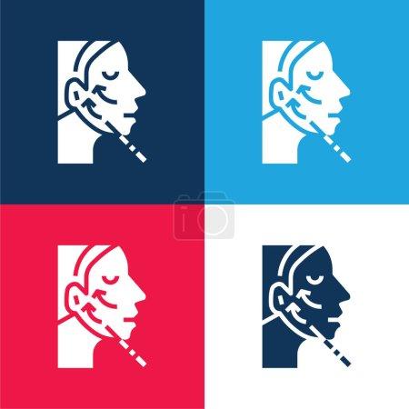 Illustration pour Ensemble d'icônes minime Botox bleu et rouge quatre couleurs - image libre de droit