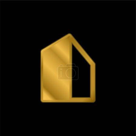 Photo pour Grand bâtiment plaqué or icône métallique ou logo vecteur - image libre de droit