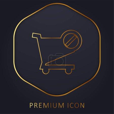 Photo pour Bloqué Panier E Commerce Symbole ligne d'or logo premium ou icône - image libre de droit