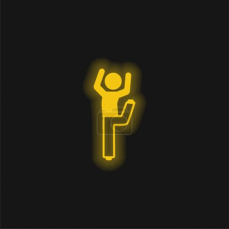 Boy With Bended Leg And Arms Up yellow glowing neon icon