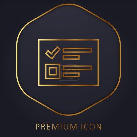 Illustration pour Logo ou icône premium de ligne d'or de bulletin de vote - image libre de droit